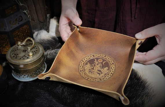 Coven of Witches casting spells around cauldron under the moon - Leather Dice Tray / Valet Tray / Catch-all with Snaps