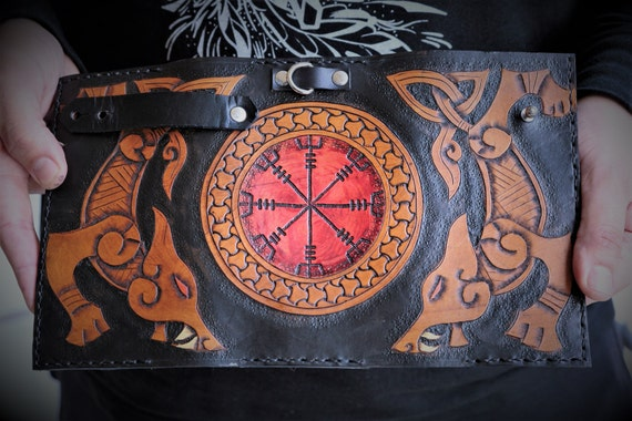 Viking Leather Wallet - Helm of Awe and Wolves - Tall Leather Trifold Biker Wallet with Chain - Fenrir Freki & Geri Odin