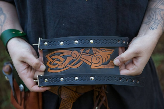 Viking Leather Bracer / Wrist Cuff Tooled Knotwork Wolf - Fenrir Design