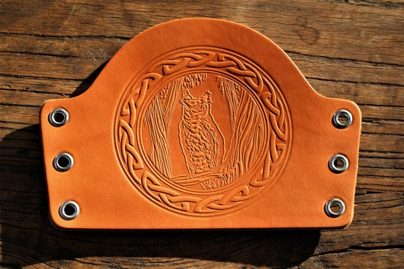 Woodland Owl with Celtic Border Leather Bracer / Armguard / Cuff / Archery Armguard