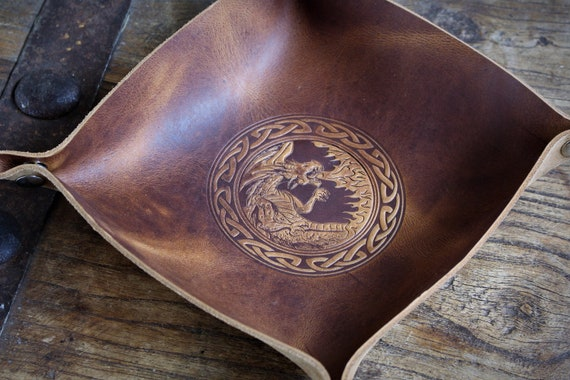 Fire Breathing Dragon - Smaug - Leather Dice Tray / Valet Tray / Catch-all with Snaps