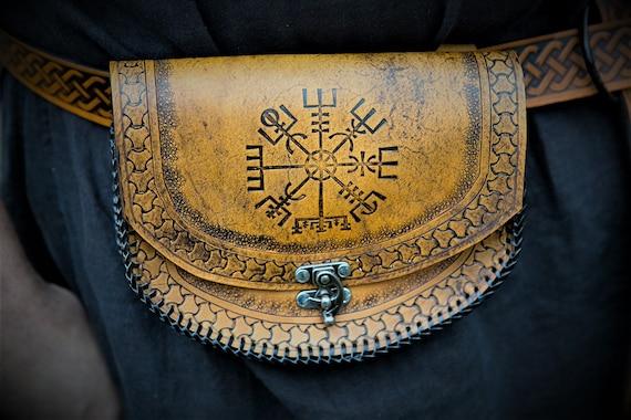 Viking Leather Belt Pouch Vegvisir - Icelandic Stave - Festival / Bushcraft Possibilities Bag