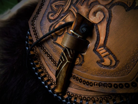 Viking Leather Belt Pouch with Carved Antler Tip Toggle and Celtic / Viking Wolf Design Fenrir Freki Geri