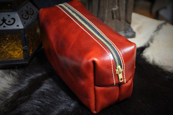 Beastman Shave Bag / Dopp Kit in RED Leather - One of a Kind