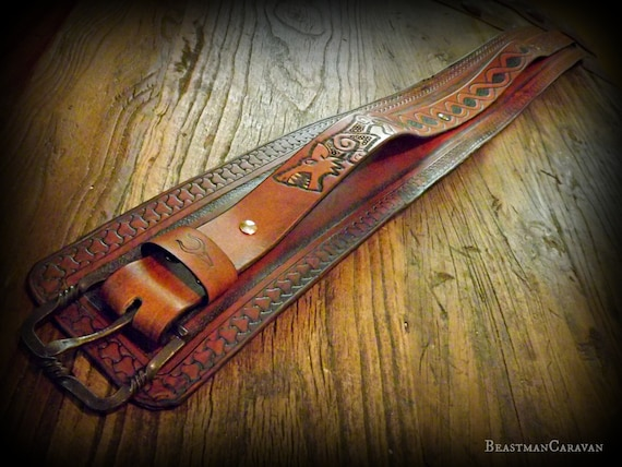 Custom Viking Leather Warrior Belt / Kidney Belt / Utility Belt
