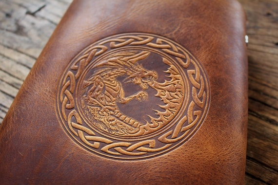 Leather Spellbook with Fire Breathing Dragon Design and Celtic Knotwork Border / Journal / Book of Shadows / - A5 Refillable Binder