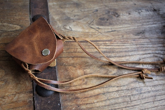 Leather Flask Belt Pouch - 5oz Round Hip Pouch with braided leather fringe tassels