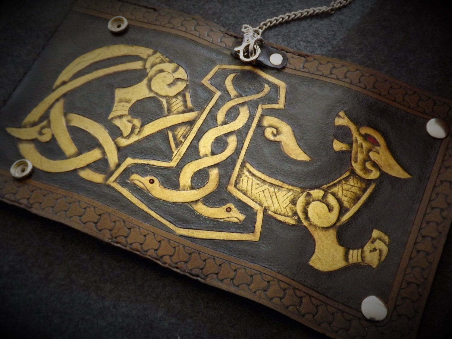 Viking Leather Wallet Mjolnir Wallet With Wolf Motif Tall Leather