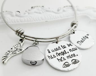 I Used To Be His Angel, Now He's Mine, Daddy's Girl Bracelet, Memorial Jewelry, Memorial Bracelet, Gift for Loss of Father, In Memory Of Dad