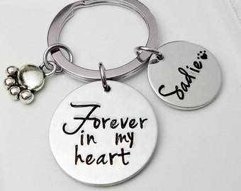 Pet Memorial Jewelry - Dog Memorial Keychain - Pet Loss Gift - Forever in my Heart - In Memory of Dog. Personalized Dog Remembrance - ST