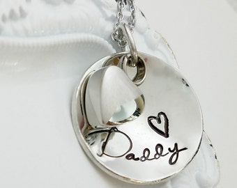 Personalized Cremation Necklace, Cremation Urn Necklace, Memorial Necklace, Cremation Jewelry, Sympathy Gift, Remembrance Necklace - Domed