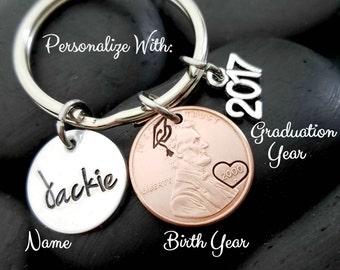 Graduation Gift - Graduation Keychain - Class of 2017 - Graduation Jewelry - Personalized Keychain - Custom Keychain - Gift for Grad