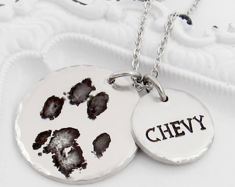 Your Pet's Actual Paw Print Necklace, Pet Memorial Necklace, Cat or Dog Paw Print Memorial Necklace, Remembrance Necklace, Pet Loss Gift