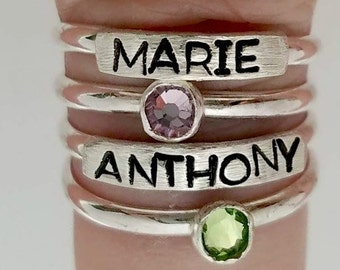 Mom Stacking Rings - Mother's Day Jewelry - Personalized Stacking Rings - Sterling Silver Stacking Name Rings - Stackable Stacking Rings