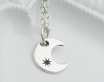 Silver Moon Necklace, Dainty Moon Necklace, Dainty Silver Moon Necklace, Crescent Moon Necklace, Silver Crescent Moon Necklace