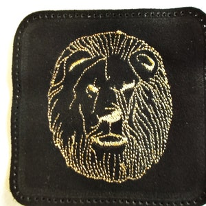 Hunter patch Brown Accessory Tiger embroidery Genuine leather Animal patch Leather patch backpack Custom leather patch bird Lion