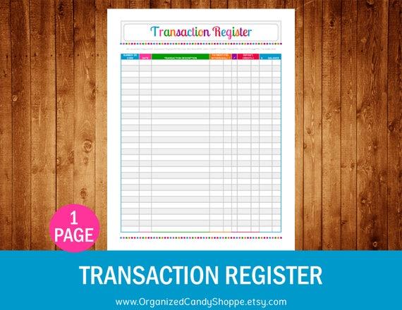transaction register instant download pdf printable etsy