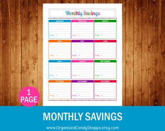 Monthly Savings • Instant Download PDF Printable