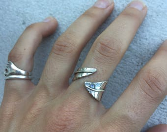 Moonstone and Sterling Silver feather ring. Adjustable and handmade with love.