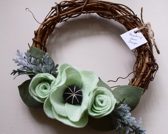 8 Inch Mint Felt Floral Grapevine Wreath