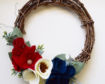 Red, White and Blue Fourth of July Felt Flower 12 Inch Grapevine Wreath