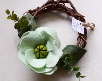 6 Inch Mint Felt Floral Grapevine Wreath
