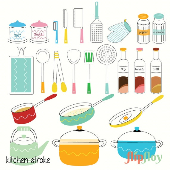 Kitchen Set Instant Download 24 Cartoon Doodle Utensils Set Etsy