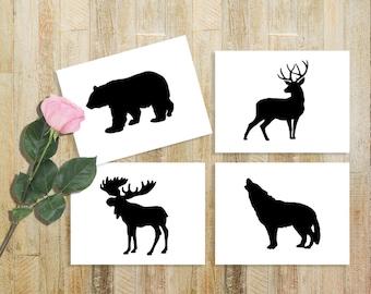 Wildlife Stencils for Wood Signs - Bear, Deer, Coyote & Moose