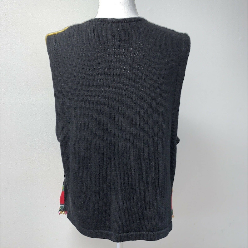 Victoria Jones Christmas Sweater Vest Button Size L Vintage floral beads
