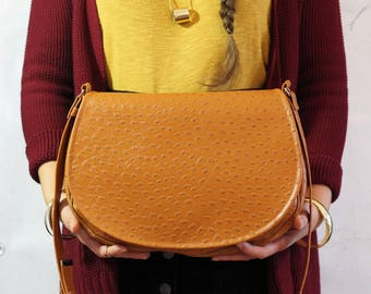 Vegan saddle bag | Brown ostrich bag | Crossbody bag | Cognac bag | Boho bag | Vintage style saddle bag | Big saddle bag | Classic saddle