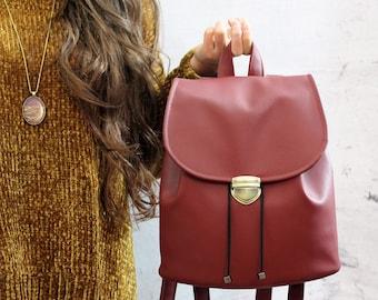 Burgundy vegan backpack. Burgundy bucket backpack. Women backpack purse