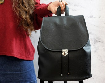"Black 13"" vegan backpack. Black bucket backpack. Women laptop backpack"