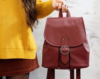 Burgundy Boho backpack. Vegan bucket backpack.