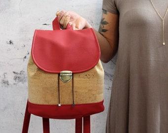 Natural cork backpack. Red and cork  vegan bucket backpack.