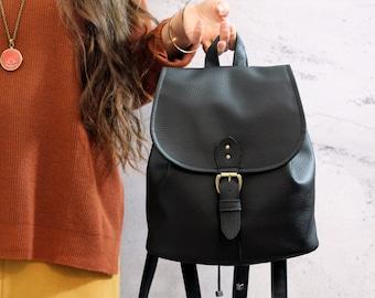 Black Boho backpack. Vegan bucket backpack.