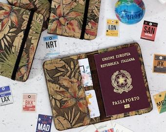 Tropical cork Passport cover. Natural cork wallet, passport holder. Sustainable vegan wallet