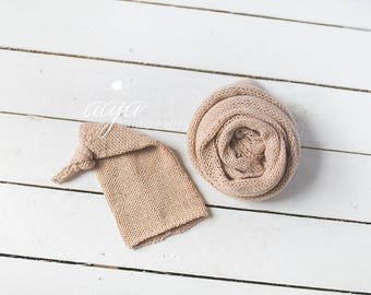 SALE!!! Baby newborn boy or girl wrap and sleepy hat set, beige , Photo prop, RTS
