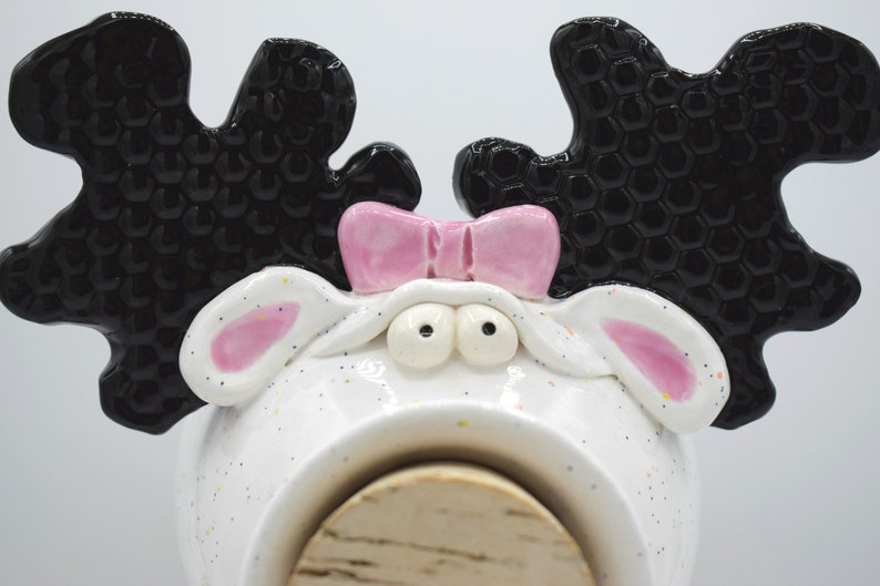 In Stock and Ready to Ship Handmade Pottery Moose Bank