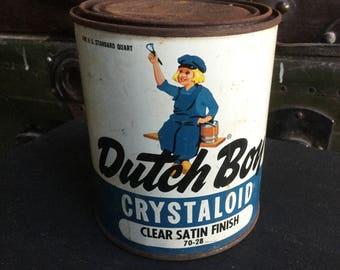 Vintage Dutch boy paint can Chystaloid clear satin finish