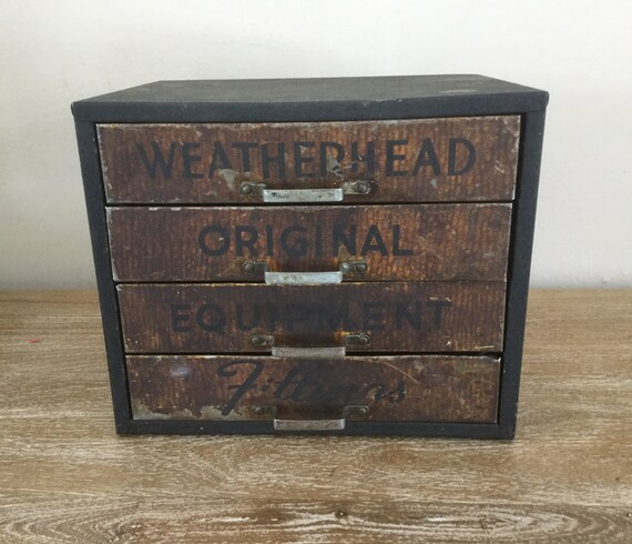original finish Vintage Weatherhead Original Fittings Equipment metal counter top storage display box fully functional with compartments