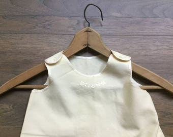 Vintage ivory wool baby dress jumper embroidered trim