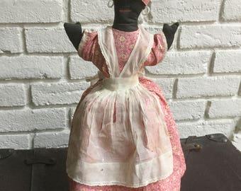 Cloth Antique black Americana doll handmade on stand