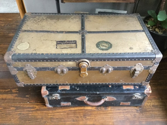 Vintage military footlocker vintage military trunk