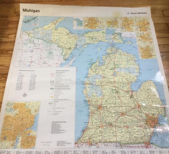 Large Vintage Michigan Map Rand Mcnally Map Etsy