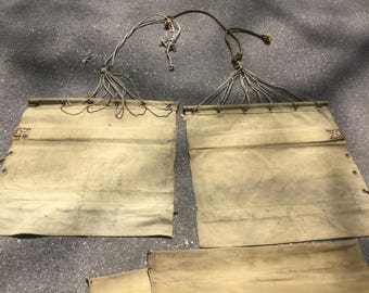 antique early Hammock salvaged pieces khaki canvas material brass grommets