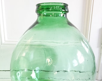 Carboy Vintage Green Glass VIRESA  Demijohn -L