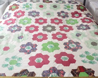 Vintage, Handmade, Hexagon Floral Patterned, Cotton, Quilt Bedspread