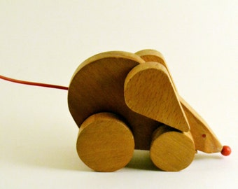 Vintage, Wooden Toy - Mouse on Wheels