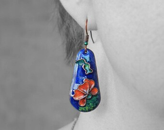 Red poppy earrings flower jewelry spring poppy art unique enamel flower earrings botanical jewelry