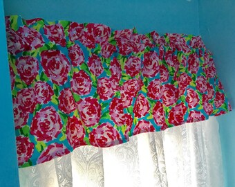 Ready to ship! Lilly Pulitzer First Impressions inspired pink rose window  valences curtain toppers for dorms girls rooms bathrooms sunrooms
